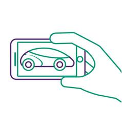 Hand holding smartphone gps navigation car vehicle vector