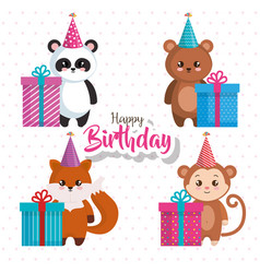 Happy birthday card with group of animals vector