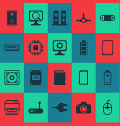 hardware icons set with cpu photocamera music vector image