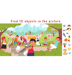 hidden objects puzzle game find object children vector image