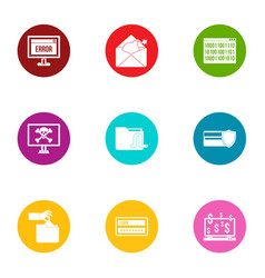 inaccuracy icons set flat style vector image