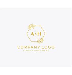 Initial ah letters decorative luxury wedding logo vector