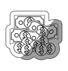 Isolated bills and coins design vector image