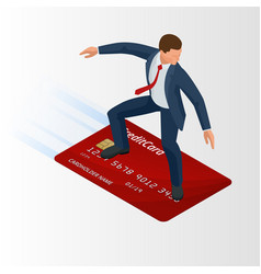 isometric young businessman with surf credit card vector image