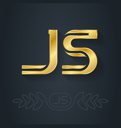 J and s initial gold logo js - metallic 3d icon vector