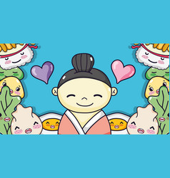 Japanese in love with food vector