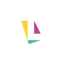 Letter l geometric logo with triangles icon design vector
