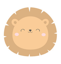 Lion round face head icon kawaii animal cute vector