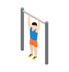 Man doing pull-up icon isometric 3d style vector