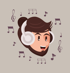 Man with earphones audio device and music notes vector