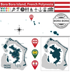 Map of bora bora island vector