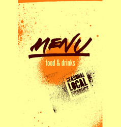 menu typographical grunge vintage design vector image