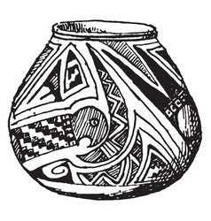 mexican jar with serpant design sketched in the vector image