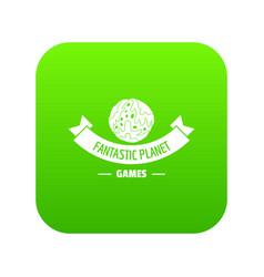 planet game icon green vector image