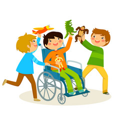 Playing in a wheelchair vector