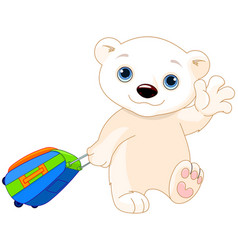 polar bear with a suitcase vector image
