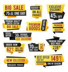 Price tag promo banners and discount labels vector