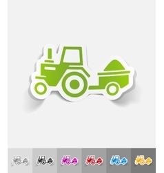 Realistic design element tractor with trailer vector