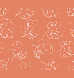 seamless pattern from monstera leaf contour vector image