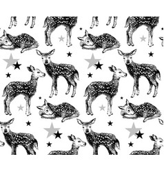 Seamless pattern with hand drawn baby deers vector