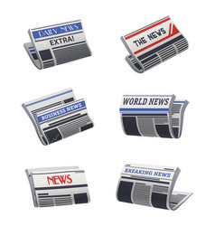 set isolated newspaper icon paper media vector image