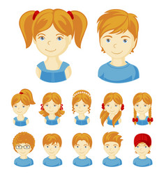 set of children faces vector image