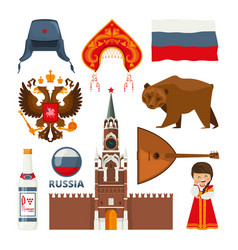 set of different traditional national symbols of vector image