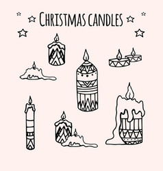 set of hand-drawn doodle christmas candles for vector image
