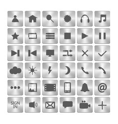 set of metallic icons metal buttons in the squares vector image