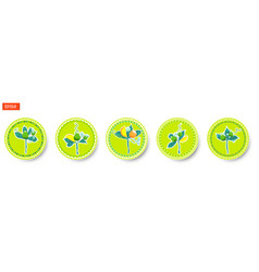 set of round labels with bouquets of fruits and vector image