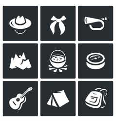 Set of Scouting Icons Hat Tie Whistle vector image