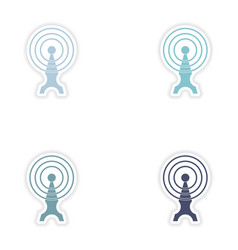 Set paper sticker on white background Wi fi tower vector