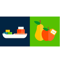 Ship cargo sea transportation and fruits delivery vector