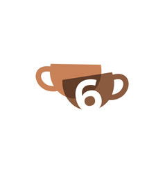 six 6 number coffee cup overlapping color logo vector image