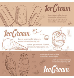 sketch ice cream banners template vector image