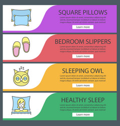 Sleeping accessories web banner templates set vector