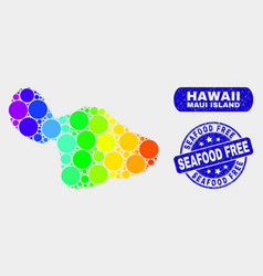 Spectral mosaic maui island map and distress vector