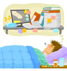 stressful sick leave vector image