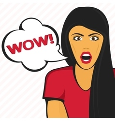 Surprised girl in red vector image