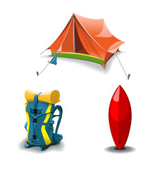 tent backpack and surf board set vector image