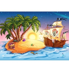 Treasure island and pirate ship vector