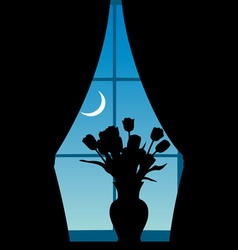 Vase with tulips at a window vector