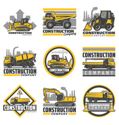 Vintage colored construction vehicles emblems set vector