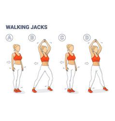 Walking jacks exercise girl workout guidance side vector