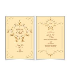 wedding invitation template vintage floral vector image
