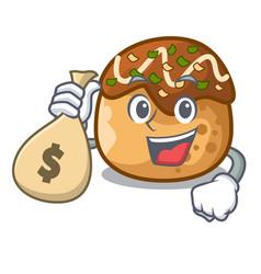 With money bag cartoon cooking takoyaki in baked vector