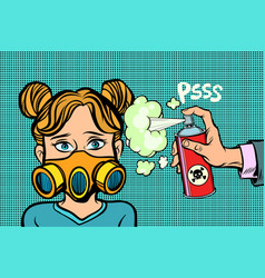 woman in a gas mask sprayed poison vector image