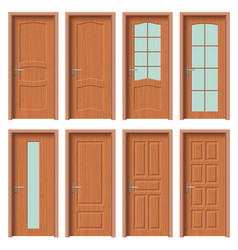 wooden door set interior apartment closed door vector image