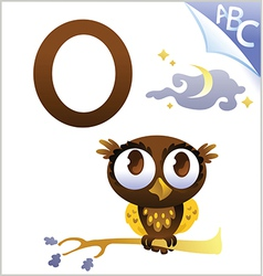 Animal alphabet for the kids O for the Owl vector image