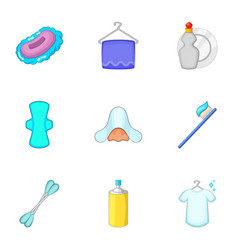 Clean up things icons set cartoon style vector